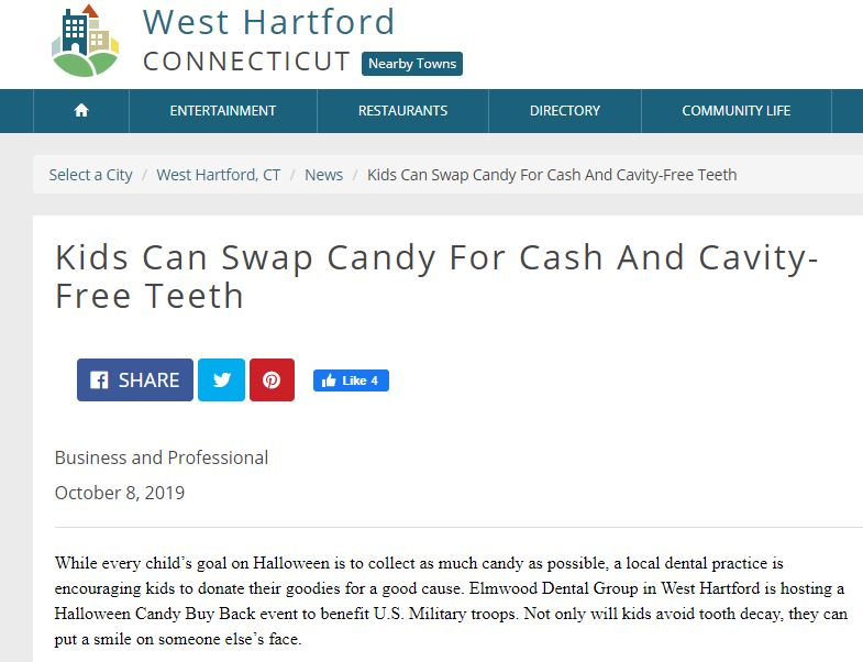 News article for The Elmwood Dental Group LLC about Halloween buyback