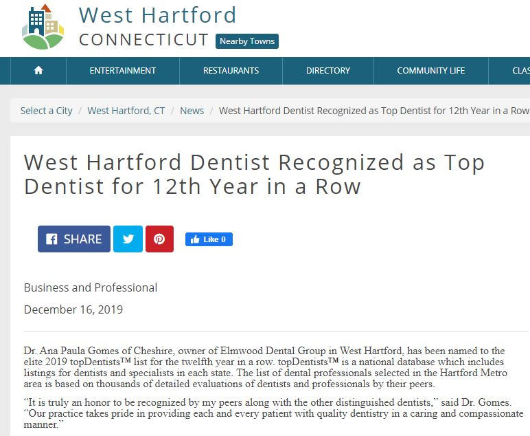 Dr. Gomes of The Elmwood Dental Group LLC wins Top Dentist